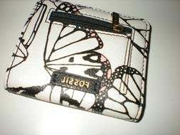 """1- FOSSIL MADISON BIFOLD BUTTERTFLY MULTI Mini Wallet- 7"""" LE"""