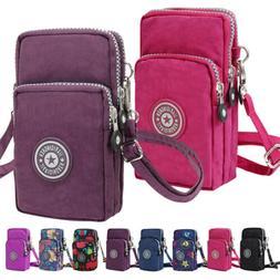 3-Layers Zipper Small Crossbody Bag Mini Pouch Purse Smartph