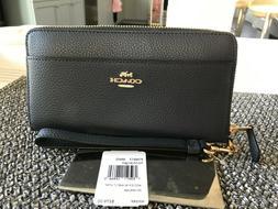 COACH Accordion Zip Wallet with Wrist Strap F76517 Midnight