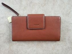 FOSSIL Authentic Emma RFID Leather Tab Clutch Leather BROWN