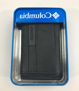 Columbia Black Leather Wallet,New, Bi-Fold, Magnetic Close W