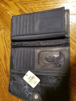 FOSSIL Blue navy Leather Hanover Flap Checkbook Wallet new