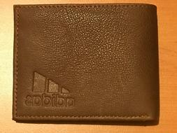 BRAND NEW GENUINE LEATHER ADIDAS MENS WALLET BROWN- FREE SHI