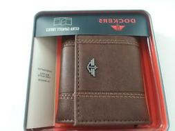 BRAND NEW Dockers Mens Tri-fold Leather Wallet in Case