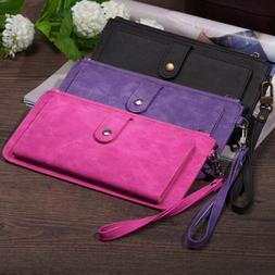 Cellphone Wallet Women RFID Blocking Slim Leather Wrist Phon