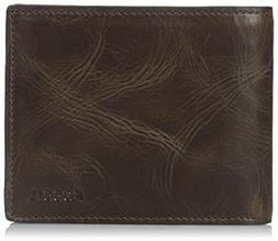 Fossil Derrick RFID-Blocking Flip ID Bifold Wallet Dark Brow
