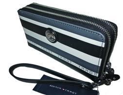 Tommy Hilfiger Double Zip Smartphone Phone Black Gray Stripe