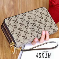 Double Zipper Wristband Long Clutch Wallets For Women Large