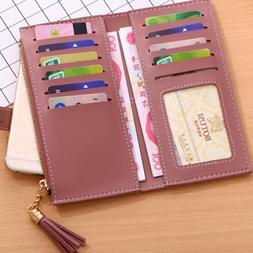 Elegant Wallet for Women PU Leather Card Zipper Phone Holder