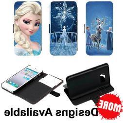 Elsa Frozen Cartoon PU Leather Wallet Flip Stand Case For Ap