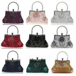 Evening Handbags Floral Pattern Bags Sequins Beaded Clutch W