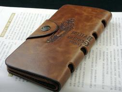 Fashion Men's Leather Long Wallet Pockets ID Card Clutch Cen