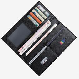Fashion Men's Ultra Thin Leather Long Wallet Pockets ID Card
