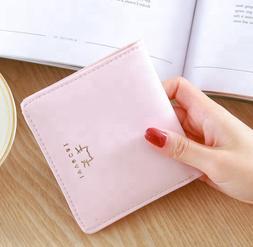 Fashion Small PU Leather Zipper Wallets Bifold Card Holder C