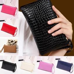 Fashion Women's Leather Zipper Clutch Wallet Phone Bag Coin