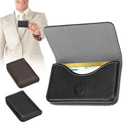 Fasional Mens Pocket Leather Business ID Credit Card Magneti