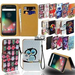 Flip Leather Card Wallet Stand Cover Phone Case For Motorola