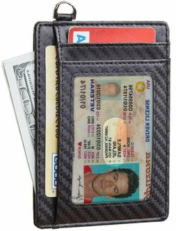 Front Pocket Minimalist Carbon Fiber Slim Wallet RFID Blocki