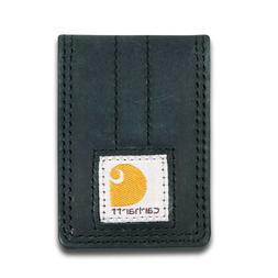 full grain leather and canvas money clip