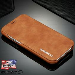 For Galaxy Note 10/9/8 S10/S9 Plus Leather Wallet Stand Thin