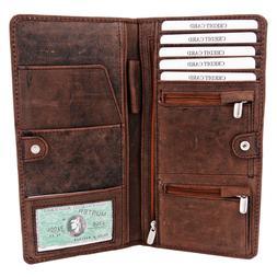 Genuine Leather Men's Passport Holder Wallet Credit Card Cas