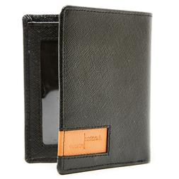 Genuine Leather Mens Slim Wallets Bifold Cardholder With ID