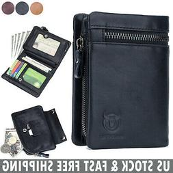 Genuine Leather Mens Wallet with Zipper Coin Pocket RFID Blo