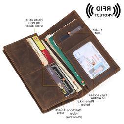 Genuine Leather RFID Long ID Wallet Men's Bifold Slim Cards