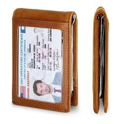 Genuine Leather Wallet Minimalist Slim RFID Blocking Credit