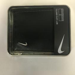 NIKE GOLF BILLFOLD Wallet Men's Bi Fold Black Leather Grey S