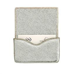 Hard Business Card Case, Goatskin Leather METALIC GOLD