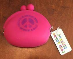 """Hot Pink """"The World Needs More Love"""" SILICONE COIN PURSE 4"""""""