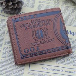 Hotsale Men's US $100 Dollar Bill Novelty Leather Bi-fold