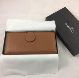 Imperfect Lavemi Womens Leather Wallet Brown RFID blocking N