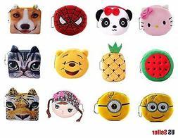 Kids Zoo Cartoon Novelty Plush Zipper Coin Purse Mini Wallet
