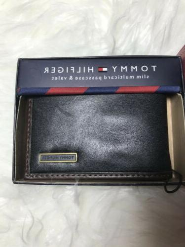 $28 Tommy Men's Leather Passcase & Valet Bifold