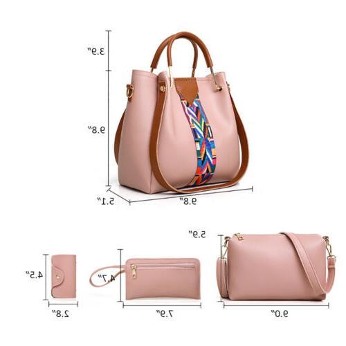 4PCS Set Leather Handbag Tote Lady Clutch Purse Wallets
