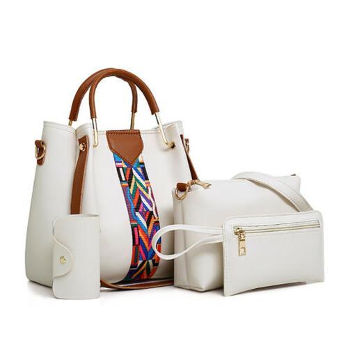 4PCS Handbag Shoulder Tote Bag Lady Card Wallets