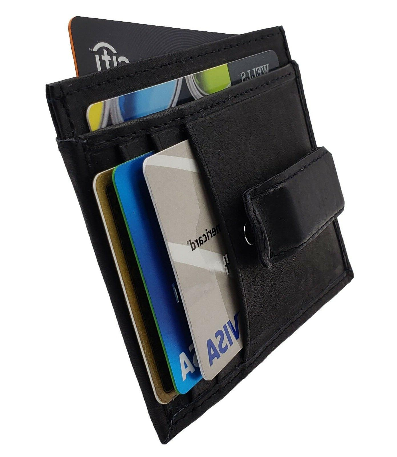 leather slim money clip front
