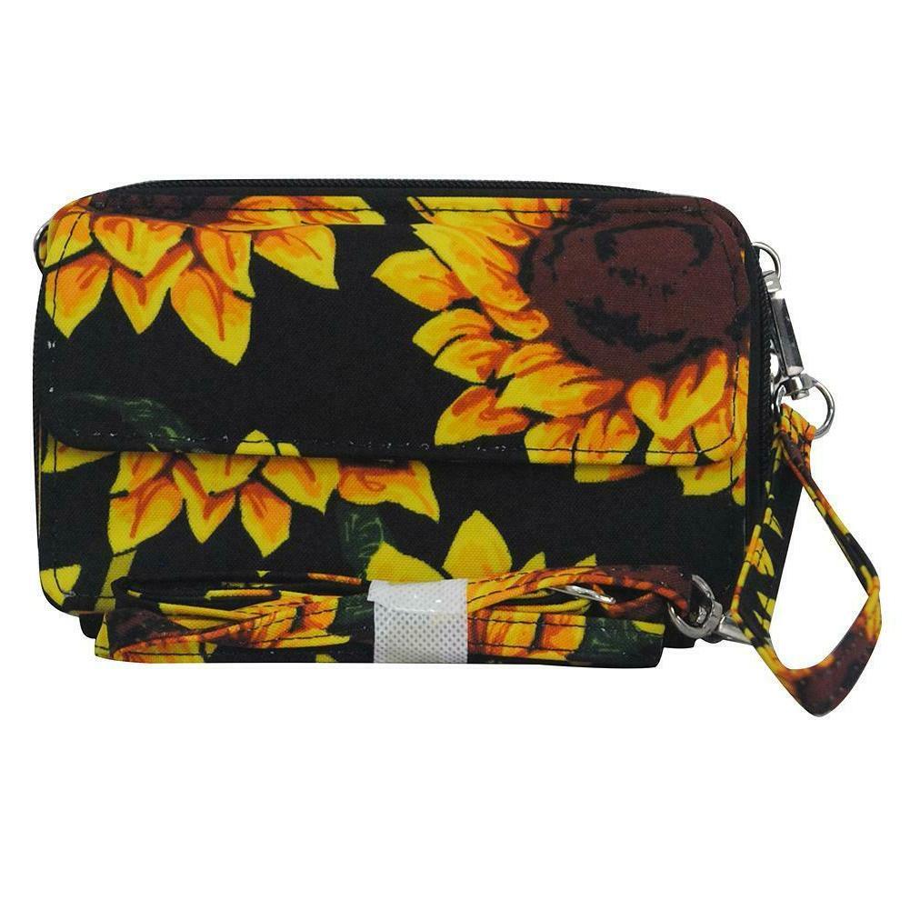 All in One Zip Around Phone Canvas Sunflower
