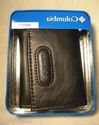 black coated leather manmade interior trifold wallet