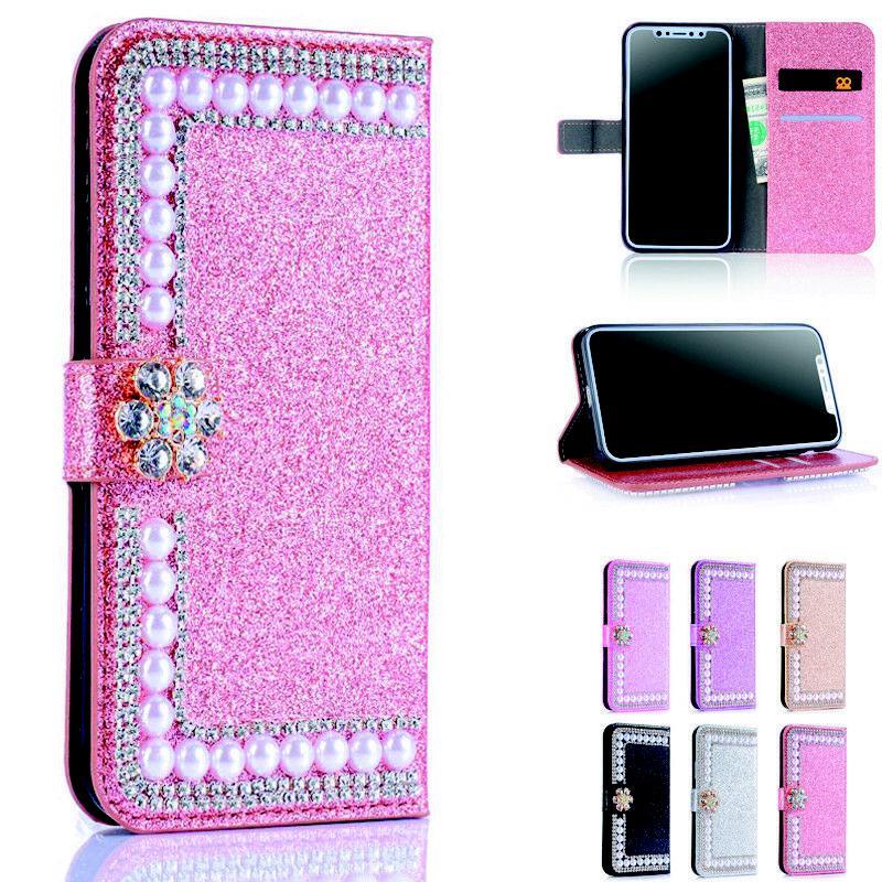 bling pearls diamond leather wallet flip women