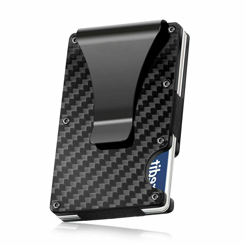 carbon fiber rfid blocking slim money clip