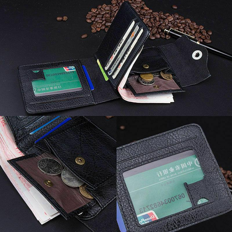 Fashion Men's Leather ID Card Wallet Purse Flap Pocket