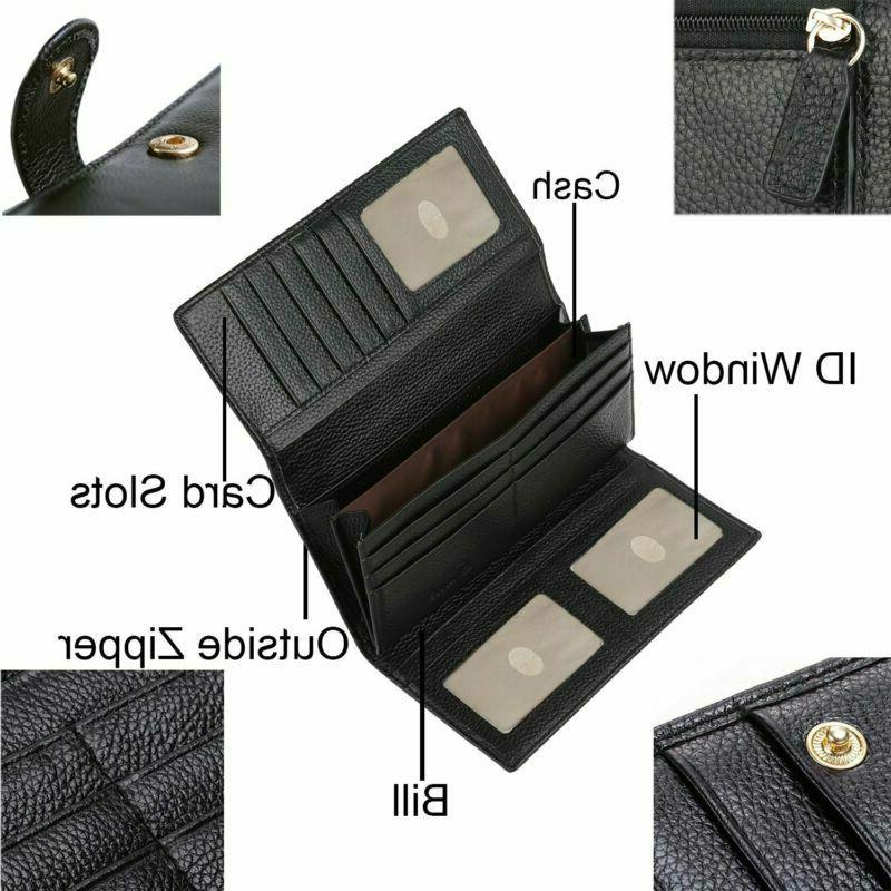 Lavemi RFID Trifold Leather Clutch Wallet for