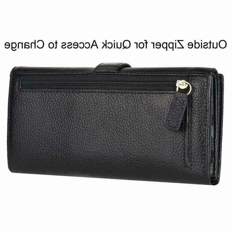Lavemi RFID Trifold Leather Checkbook Clutch for Women