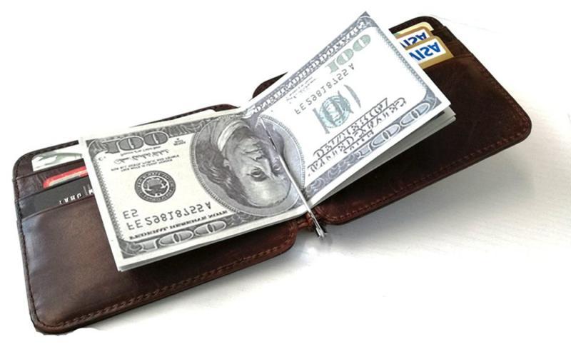Men's Slim Spring Money Clip Pocket Credit Card Holder