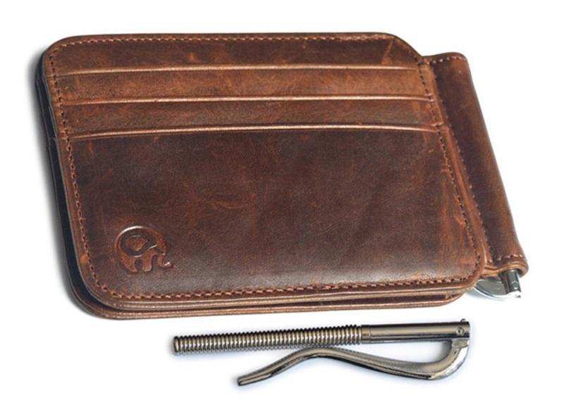 Men's Leather Slim Money Clip Wallet Pocket Credit Holder