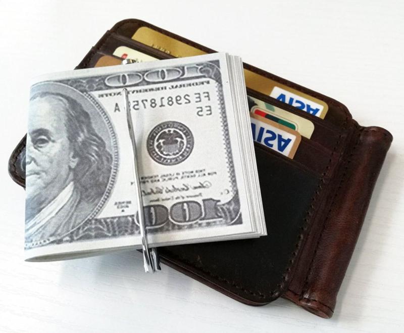 Men's Leather Money Clip Wallet Pocket Credit Card Holder