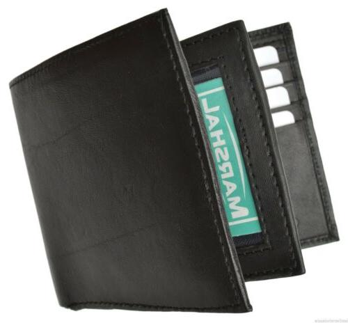 Men's Leather Card Capacity Compact Bifold New